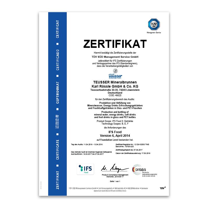 IFS-Zertifikat 2016 Deutsch