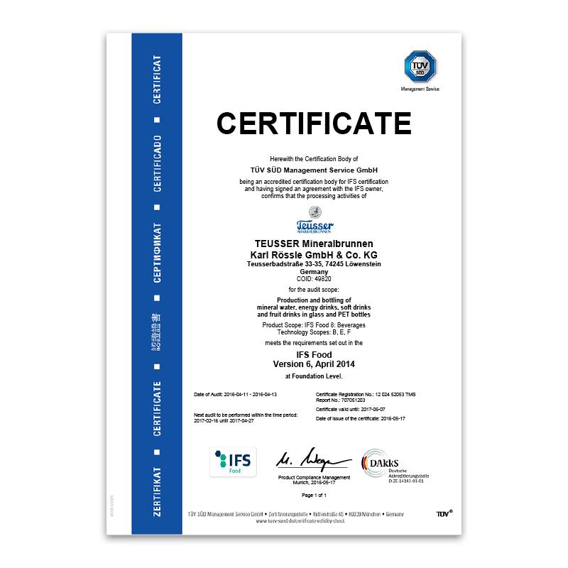 IFS-Zertifikat 2016 Englisch