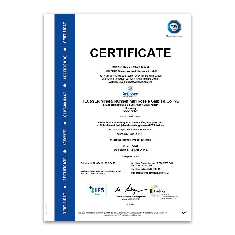 IFS-Zertifikat 2018 Englisch