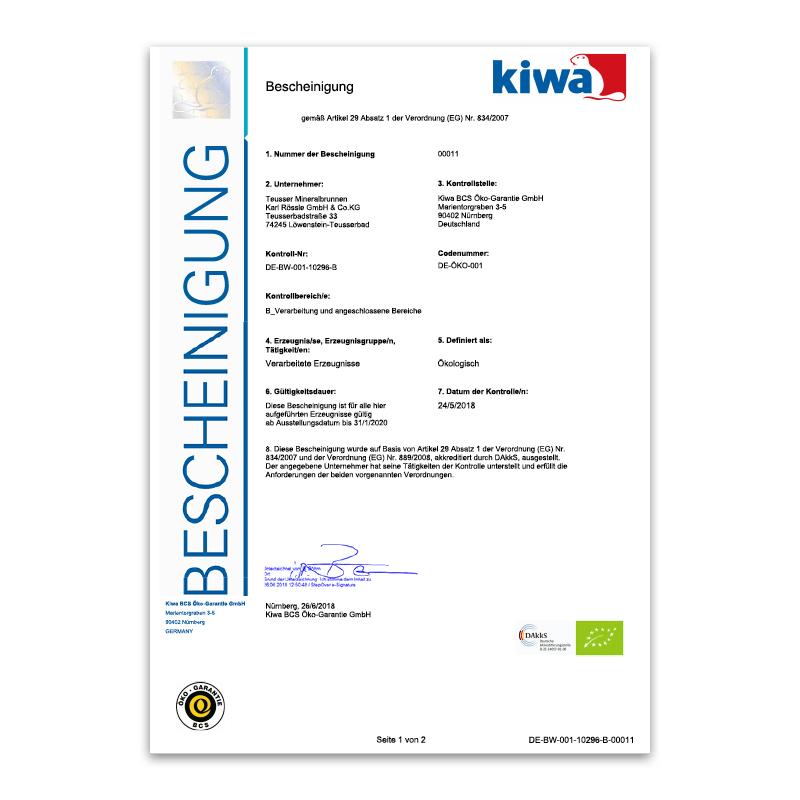 Bio-Zertifikat 2018