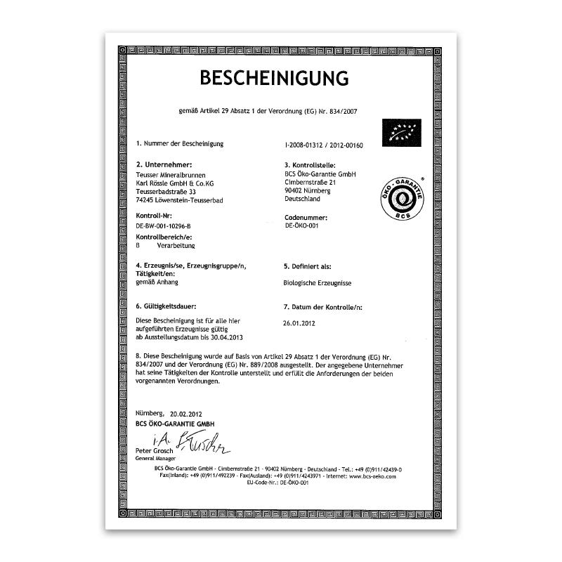 Bio-Zertifikat 2012