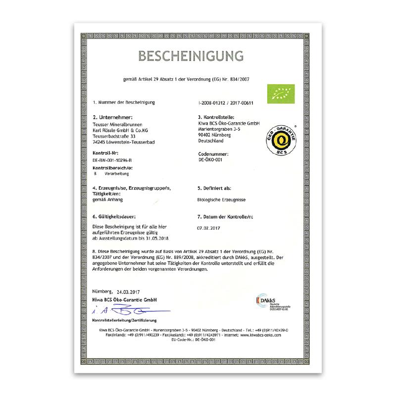 Bio-Zertifikat 2017
