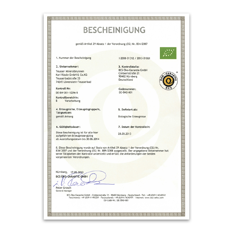 Bio-Zertifikat 2013