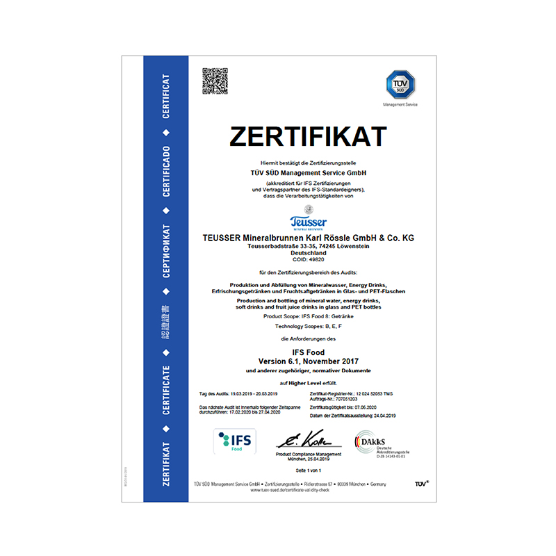 IFS-Zertifikat 2019 Deutsch