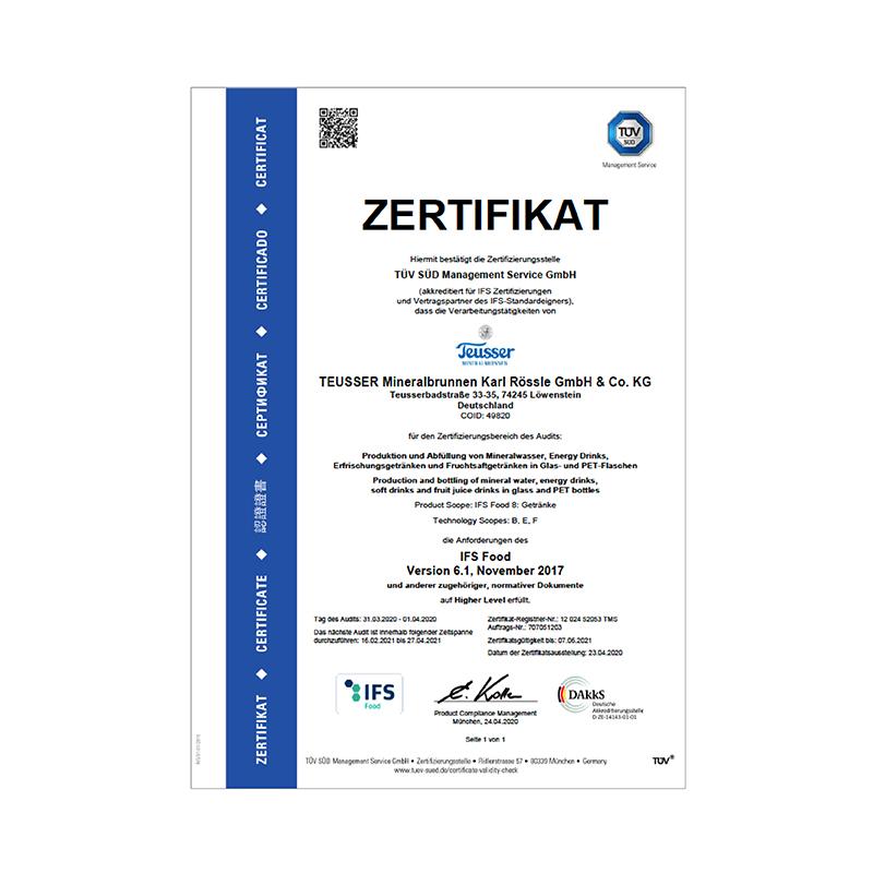 IFS-Zertifikat 2020 Deutsch